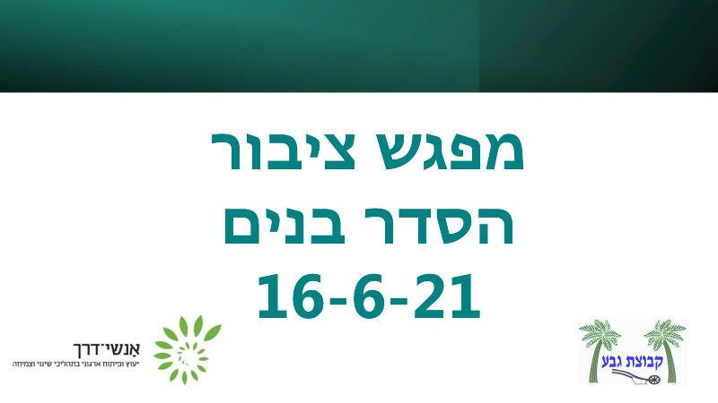 מפגש שינוי 16/6/21 - הסדר בנים